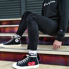 Sneakers Fashion Outfits, Outfits With Converse, Cdg Converse, Big Men Fashion, Fashion Styles, Winter Fashion, Style Vintage, Streetwear Fashion, Swag