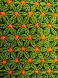 We think that who loves crochet most of people also loves Puff Stitch. There is many beautiful and creative puff stitches Puff Stitch Crochet, Crochet Stitches, Love Crochet, Diy Crochet, Knitting Patterns, Crochet Patterns, Yarn Flowers, Diy Embroidery, Green And Orange