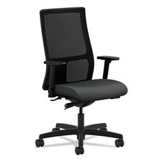 Ignition Series Mesh Mid-Back Work Chair, Iron Ore Fabric Upholstered Seat