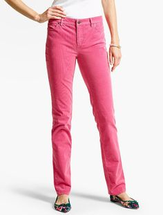 Straight-leg soft corduroy pants in a bright pink shade.