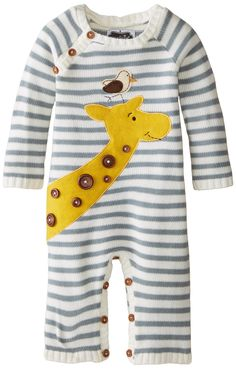 Mud Pie Baby-Boys Newborn Giraffe Sweater Coverall, White, 6-9 Months   Free One-Day Shipping