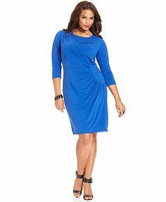 Spense Plus Size Three-Quarter-Sleeve Ruched Faux-Wrap Dress