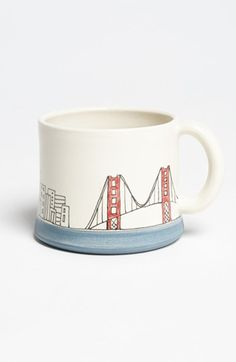 Cup ceramic vessel #mug #cup of tea mug It' s only a storm in a teacup #Bridge San Francisco hand painted mug by Downing Pottery Etsy & Nordstrom Present Frisco mug