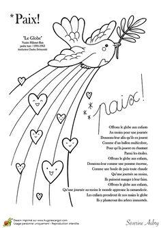 Coloriage sur le thème de la paix, la colombe - Hugolescargot.com