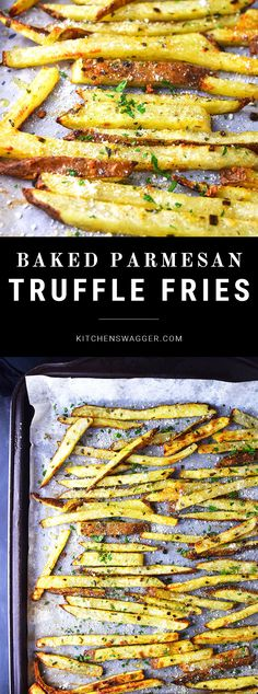 Crispy baked hand cut fries made with truffle oil, spices, and parmesan cheese. Truffle Recipe, Truffle Fries Recipe Baked, Recipes With Truffle Oil, Parmesan Truffle Fries, Hand Cut Fries, Cheese Fries, French Fries With Cheese, Oven French Fries, Side Dishes With Burgers