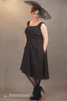 lniana czarna sukienka - Estera-Grabarczyk - Sukienki ekologiczne
