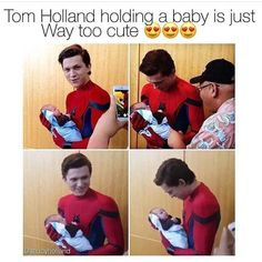 Tom Holland holding a Baby, avengers, Spiderman, Tom Holland Memes Funny Marvel Memes, Marvel Jokes, Dc Memes, Funny Memes, Hilarious, Marvel Dc, Tom Holland Peter Parker, Tommy Boy, Holding Baby