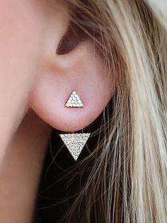 Triangle Ear Jacket Earring Jewelry at MyBodiArt.com