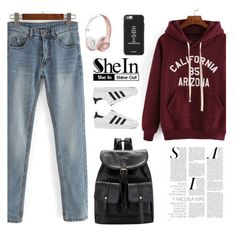 """Shein 7/10"" by mell-2405 ❤ liked on Polyvore featuring ファッション と adidas"