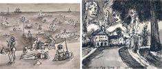 La spiaggia di Cesenatico; In Prà (2 works) by Tono Zancanaro