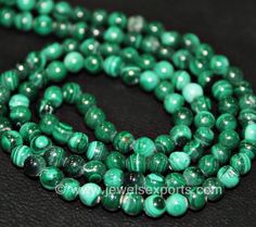 5 x 14 Inches - Natural Malachite Smooth Polished Round Balls Beads - Size 3-4MM - Amazing Quality by jewelsexports on Etsy