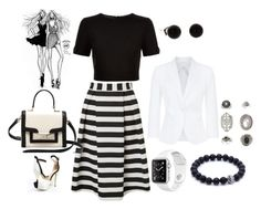 """""""Black and White Stripes"""" by freida-adams ❤ liked on Polyvore featuring Lipsy, Ted Baker, Kate Spade, MaxMara and Topshop"""