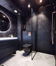home colors interior Small Space Bathroom, Bathroom Goals, Bathroom Black, Bathroom Design Luxury, Modern Bathroom Decor, Loft Interior, Interior Design Living Room, Bathroom Inspiration, Design Ideas