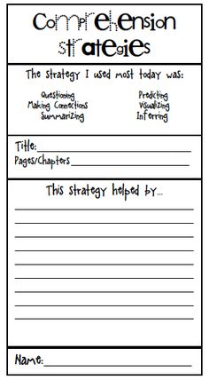 Metacognition ... FREE printable reading comprehension exit ticket. This could be used with your child after independent reading occasionally to reinforce comprehension.