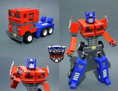This is the first photo of my first trasformable Optimus Prime (boyzwiththemosttoyz Head Design) Lego Transformers, Cool Lego, Awesome Lego, Lego Robot, Lego Mechs, Lego Models, Lego Projects, Old Cartoons, Custom Lego
