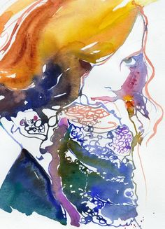 Archival Prints of Watercolour Painting, Fashion Illustration. Titled - Marion Cotillard