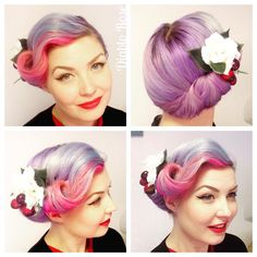 Today's hair and face! #vintagehair #purplehair #victoryrolls #vintageupdo…