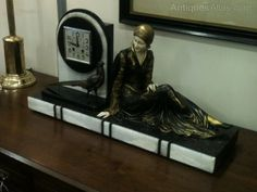 art deco spelter men   Superb Large Art Deco Lady and Clock Group On Marble Base, unsigned ...