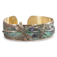 Victorian Style Elaine Coyne Brass and Gemstone Dragonfly Cuff Bracelet #ELAINECOYNEGALLERIES