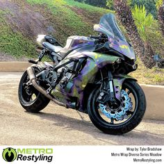 Metro Meadow Camo vehicle vinyl wrap. Metro's Diverse Series has many patterns, but this Meadow Camouflage looks great on this motorcycle. Wrap your car or bike with the Meadow camo from MetroRestyling.com Wrap Your Car, Hexagon Pattern, We The Best, State Art, Military Green, Vivid Colors, Picture Video, Camouflage, Looks Great