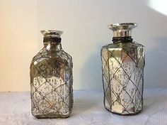 Set of 2 Silver Mercury Glass Vases w Wire Wrapped Jacket from Joss Main   eBay