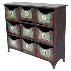 Metal storage chest with a weathered finish and 9 numbered bins.   Product: ChestConstruction Material: Metal
