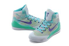Discount Nike Kobe 9 Elite GS Custom gray Blue green Factory Outlet