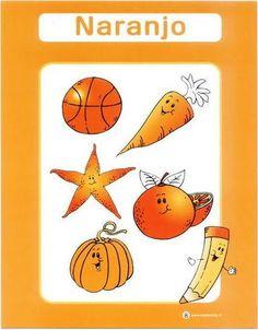 color naranja fichas infantiles para aprender los colores imprimir gratis para niños Preschool Spanish, Preschool Learning, Teaching Art, Math 4 Kids, Material Didático, French Colors, Color Games, Color Activities, School Colors
