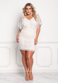Plus Size Clothing | Plus Size Embroidered Bodycon Dress | Debshops