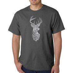 Los Angeles Pop Art Men's T-shirt - Types of Deer, Size: Medium, Gray