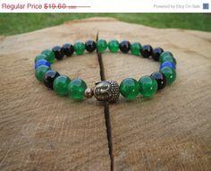 SALE Buddha Gemstones Bracelet Green by BohemianChicbead #yogabracelet #green #jade