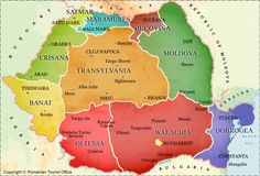 Romania - Historical Regions Map: Transylvania is 34,177 sq miles, the approximate size of Maine.