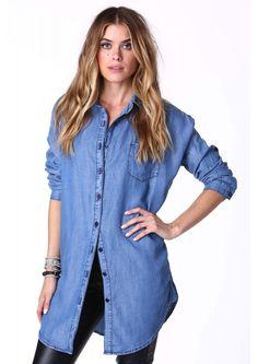Denim Fever Mini Dress in Blue | Necessary Clothing