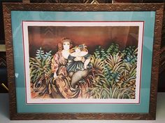Mother & Daughter by Haya Ran. Custom framed using two acid-free mats, conservation glass and Simpatico frame by @larsonjuhl! #art #pictureframing #customframing #denver #colorado #hayaran #design