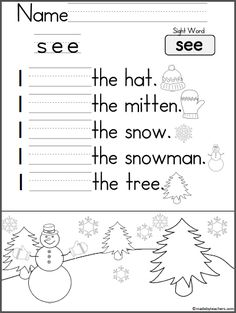Free mitten themed activity for your Kindergarten students to practice shapes and graphing. It is a wonderful math activity for any winter month for Pre-K and Kindergarten. This page is from my Winter Math And Literacy Unit For Kindergarten Enjoy! Sight Word Practice, Writing Practice, Sight Words, Sentence Writing, Alphabet Writing, Kindergarten Language Arts, Kindergarten Worksheets, Kindergarten Class, Writing Worksheets