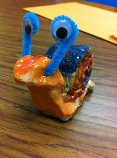 Drip, Drip, Splatter Splash clay snails - love the pipe cleaner and joggle eyes!
