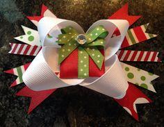 Christmas hair bow on Etsy, $5.00