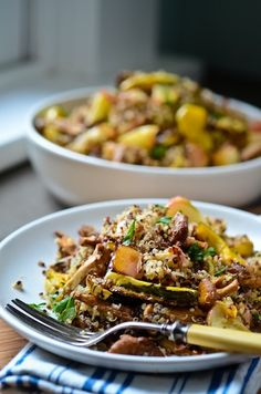quinoa with roasted chanterelles, apples and squash