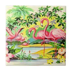 vintage flamingo pictures   vintage retro pink flamingo birds ceramic accent tile enjoy tile ...