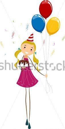 Иллюстрация Девочка Держит День Рождения Шары И Торт клипарты - ClipartLogo.com