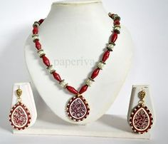 Drop Paper Quilling Beehive Style Necklace & Earrings Set