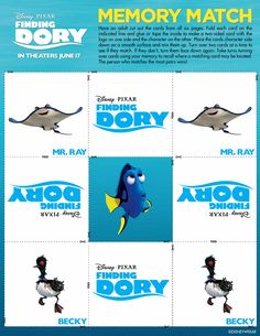 Finding Dory Free Printable Memory Game, Mobile Craft, and More! Early Childhood Activities, Activities For Kids, Disney Printables, Free Printables, Mobile Craft, Trunk Or Treat, Finding Dory, Memory Games, Disney Pixar