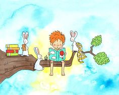 Boy With Red Hair and Freckles Reading to Bunnies at Bedtime - STORYTIME - 5x7 Art Print for Children