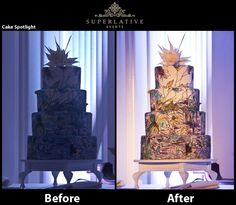 Please don't let your cake sit in the dark, light it up! Before and after a cake spotlight. #LightTheCake #WeddingCake @Rent Uplights