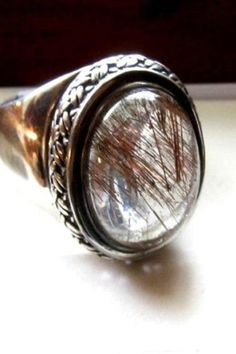 Handcrafted Prong Set Solitaire Rutilated Quartz Sterling Silver Ring Size 7