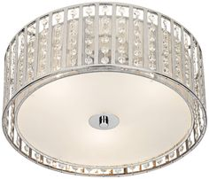 $130 16w x 7.5h  Possini Chrome and Crystal Strands Flushmount Ceiling Light | 55DowningStreet.com