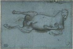 Pisanello, Horse fallen on its left flank, mid 15C. Codex Vallardi 2371, Louvre, Paris