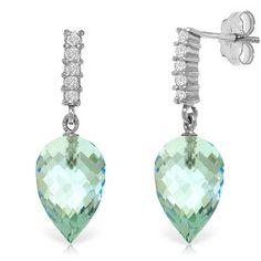 14K Solid White Gold Made Glorious Blue Topaz Diamond Earrings - 4806-W