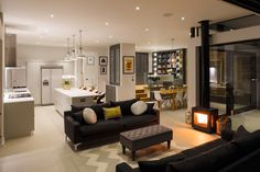 """Granit Chartered Architects designed Broadgates Road residence in London, England. """"We were asked to design an extension at ground level and fully refurbish this property to a high standard, … Home Decor Kitchen, Home Living Room, Room Design, Interior, Living Room Design Diy, Open Plan Kitchen Living Room, Living Room Diy, Interior Design, Living Room Designs"""