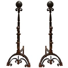 Jan Barboglio Ballin Fireplace Andirons, handcrafted - forged iron.